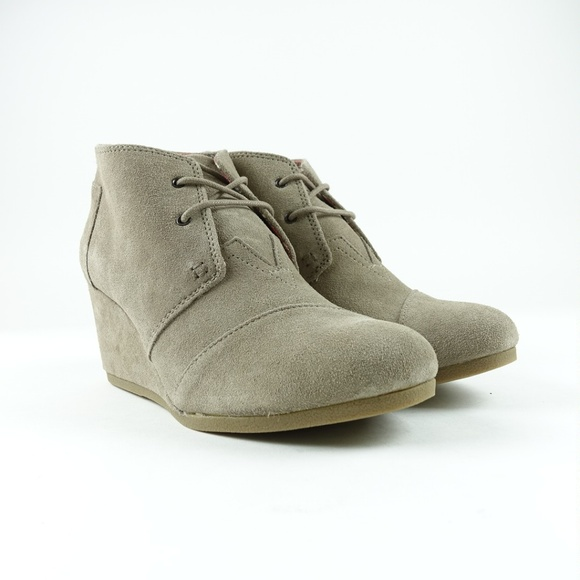 7132fcca0410 TOMS Women s Desert Taupe Suede Booties Lace Up